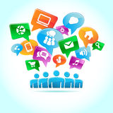 Sociale media, achtergrond van de pictogrammenvector royalty-vrije illustratie