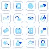 Sociale media&blogpictogrammen - blauwe reeks Stock Afbeeldingen