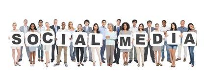 Sociale Media Bedrijfsmensen Team Teamwork Success Strategy Conc Royalty-vrije Stock Foto