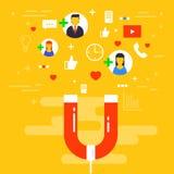 Sociale media concepten vectorillustratie met magneet die FO in dienst nemen royalty-vrije illustratie