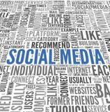 Sociale media conept in de wolk van de woordmarkering Stock Afbeelding