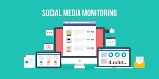 Sociale media controle Vlakke ontwerpillustratie Stock Fotografie