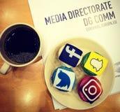 Sociale media cupcakes Stock Afbeeldingen