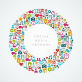 Sociale media de cirkelsamenstelling van netwerkpictogrammen EPS1 Royalty-vrije Stock Afbeelding