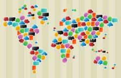 Sociale media de wereldkaart van de bellenbol Stock Foto's