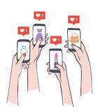 Sociale media die bereikend potentiële klanten op de markt brengen royalty-vrije illustratie