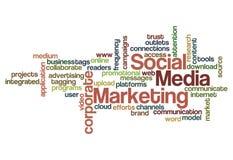Sociale media die conceptenachtergrond op de markt brengen Royalty-vrije Stock Foto's