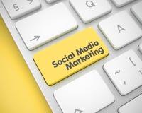 Sociale Media die - Gele Toetsenbordknoop op de markt brengen 3d Stock Foto's