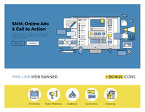 Sociale media die vlakke lijnbanner op de markt brengen vector illustratie