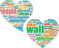 Sociale media die - woordwolk in hart op de markt brengen Stock Afbeelding