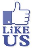 Sociale media duim omhoog als ons Royalty-vrije Stock Afbeelding