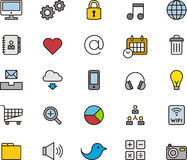 Sociale media en communicatie pictogrammen Stock Foto