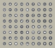Sociale media en de vlakke pictogrammen van de netwerkkleur Royalty-vrije Stock Afbeeldingen