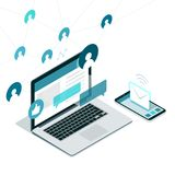 Sociale media en netwerken stock illustratie