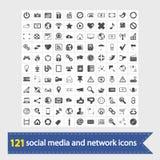 Sociale media en netwerkpictogrammen Stock Fotografie