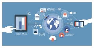 Sociale media en technologie stock illustratie