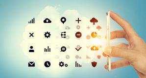 Sociale media en wolk gegevensverwerking stock afbeeldingen