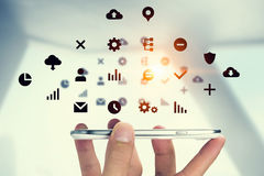 Sociale media en wolk gegevensverwerking Gemengde media royalty-vrije stock afbeelding