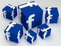 Sociale media facebook doos Stock Afbeelding