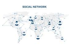 Sociale Media Grafische globale netwerkverbinding Sociale netwerkstructuur op wereldkaart Vector illustratie Stock Afbeelding