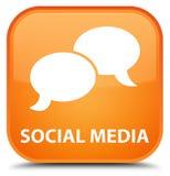 Sociale media (het pictogram van de praatjebel) speciale oranje vierkante knoop Royalty-vrije Stock Afbeelding