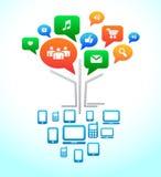 Sociale media. Het praatjebellen van het Forum van de boom. vector illustratie
