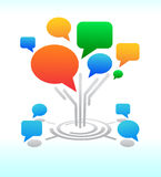 Sociale media. Het praatjebellen van het Forum van de boom royalty-vrije illustratie