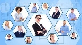 Sociale media, het werkconcept van Internet en van het team - portretten van busi stock afbeeldingen