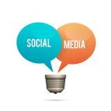 Sociale Media Lightbulb Stock Afbeelding