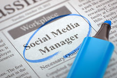 Sociale Media Manager Hiring Now 3d Royalty-vrije Stock Foto's