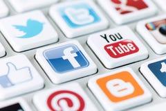 Sociale media mededeling Stock Foto