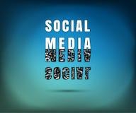 Sociale media op risico, iets gevaarlijk achter sociaal netwerk, vectorillustratie Stock Foto's