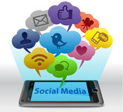 Sociale media op Smartphone Stock Foto's