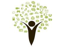 Sociale media pictogrambloemen en menselijke bomen Stock Afbeelding