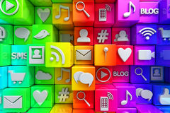 Sociale media pictogrammen Stock Fotografie