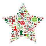 Sociale media pictogrammen in Kerstmisster Royalty-vrije Stock Foto's