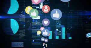 Sociale media pictogrammen met programmacodes 4k stock illustratie