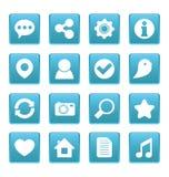 Sociale media pictogrammen op blauw vierkant Royalty-vrije Stock Foto's