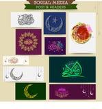 Sociale media post en kopbal voor Eid al-Adha Stock Foto's