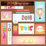 Sociale Media post en kopbal voor Gelukkig Nieuwjaar Stock Afbeeldingen