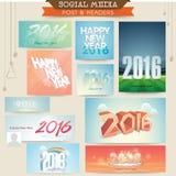 Sociale Media post en kopbal voor Gelukkig Nieuwjaar Stock Foto