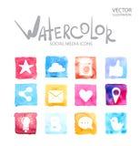 Sociale media symbolen Waterverfpictogram Royalty-vrije Stock Fotografie