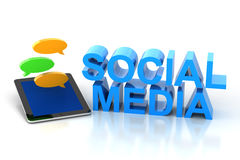 Sociale media tekst met digitale tablet en toespraak Royalty-vrije Stock Afbeelding