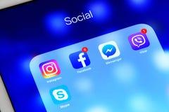 Sociale media toepassingen op het tabletscherm Royalty-vrije Stock Fotografie