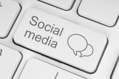 Sociale media toetsenbordknoop Stock Foto