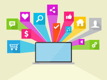 Sociale Media Vectorpictogramillustratie Stock Fotografie
