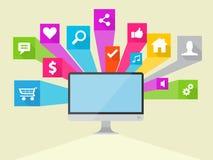 Sociale Media Vectorpictogramillustratie Royalty-vrije Stock Foto's
