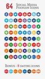 Sociale media veelhoekpictogrammen (plaats 1) Royalty-vrije Stock Afbeeldingen