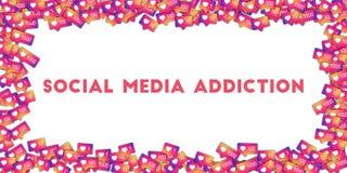 Sociale media verslaving Sociale media pictogrammen op abstracte vormachtergrond met gradiëntteller Stock Foto