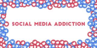 Sociale media verslaving Sociale media pictogrammen op abstracte vormachtergrond met verspreide duimen omhoog en harten Stock Foto